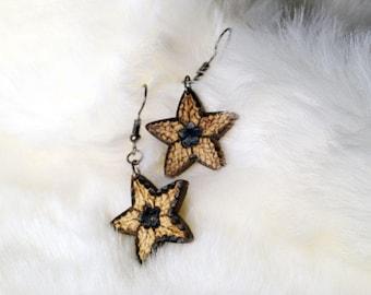 Wood  Pyrography Earrings OOAK handmade jewelry