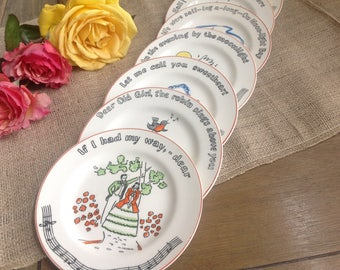 Songs Fondeville New York Vintage Canape Plates From the 1940s Made in England Set of 8
