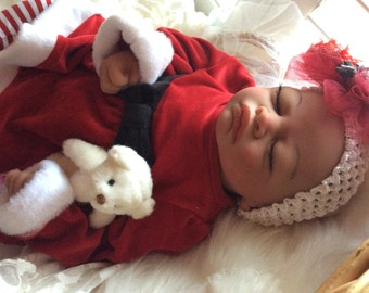 Completed Bi Racial Stella Completed Reborn Baby Doll from the Aisha 20 inch kit with Painted Hair