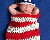 SALE 20% OFF Newborn Stars and Stripes Cocoon Hat Set - Crochet Beanie Boy Girl Halloween Photo Prop Costume Christmas Winter