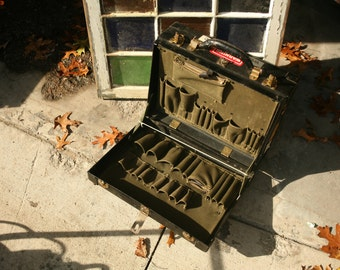 Vintage Bell Systems repairman's hard tool case, Canvas Sectioned Interior, Technician Luggage, Phone Repair