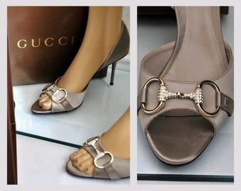 Vintage Gucci Peep Toe Pumps, High heel Shoes, Womens, Sandals, Metallic Silk Satin, Box, Italy