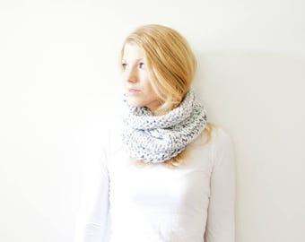 SPRING SALE the SOLOMON cowl - knit cowl scarf chunky scarf cowl scarf  - marble white