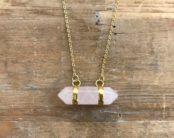 "Rose Quartz double pointer Pendant on matching 18"" Gold Necklace Chain CHRISTMAS SALE"