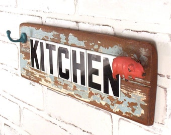 KITCHEN Sign, Farm House Chic, Shelf Plaque, Reclaimed Wood, Repurposed Vintage Tin Letters, Pink Pig, Robins Egg Blue Weathered Paint