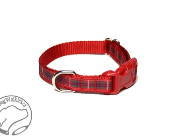 """Fraser Clan Tartan Small Dog Collar - Thin Dog Collar - 1/2"""" (12mm) Wide - Red Plaid - Frazer - Outlander Plaid - Choice of style and size"""
