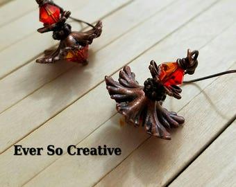 Antique Copper Swarovski Earrings