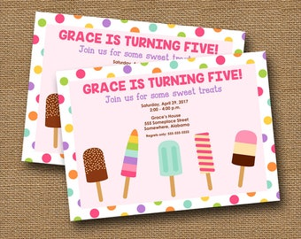 Popsicle Party Invitation | Printable Sweet Treats Invite | Girl's Birthday Party | Cute Summer Birthday Party | DIY PRINTABLE Invitation