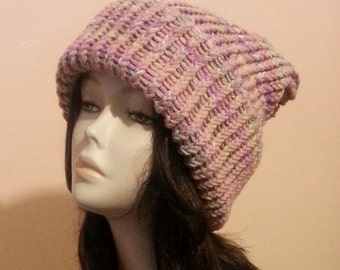 Chunky Loom Knitted Hat - Loom Slouch Knit Hat - Winter Hat - FREE UK DELIVERY