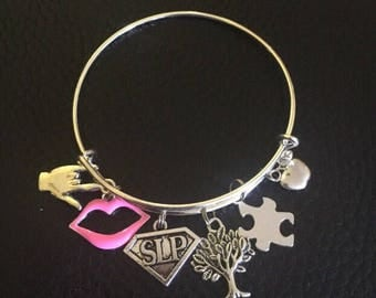 SUPER Speech Language Pathologist  SLP charm bracelet