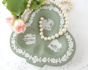 Wedgwood Sage Green Jasperware, Trinket Dish, Club Shaped Ashtray, Made in England, Vintage Stoneware Dish, Vintage Home Decor