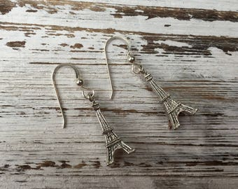 Eiffel Tower Paris French Earrings, Eiffel Tower Earrings, Silver Plated Eiffel Tower Earrings, Paris Chic Earrings, French Chic Earrings