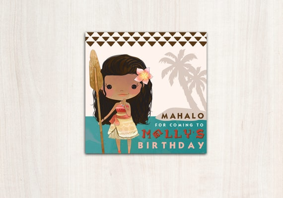 MoAna Favor Tags - Polynesian Princess Thank You Tags  - Party Supplies