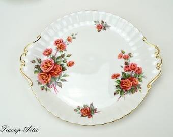 Royal Albert Centennial Rose Cookie Plate, English Bone China Cake Plate, Replacement China, ca. 1967-1981