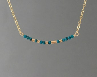 CUSTOM TURQUOISE Gold Fill Morse Code Necklace also in Sterling Silver and Rose Gold Fill
