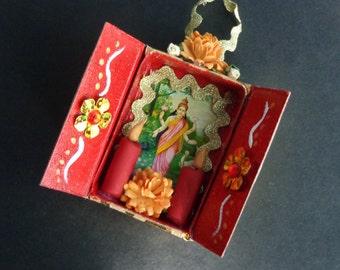 Lakshmi Matchbox Shrine Ornament.  Christmas Ornament.  Yule.  Winter Solstice