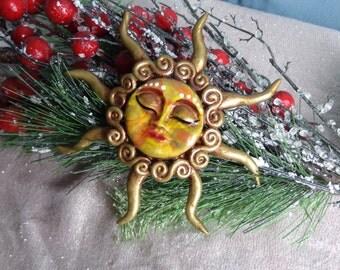 Sun Yule Christmas Ornament.  Yule Ornament.  Winter Solstice Ornament.  Pagan Ornament. Black Friday. Cyber Monday. Sale Disount. 10% OFF