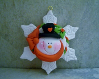 Snowman - Snowflake - Polymer Clay - Christmas - Holiday Ornament