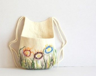 Hanging basket, toys organizer, felted wool bag, natural white with colorful flowers hanging bag - Weddings gift