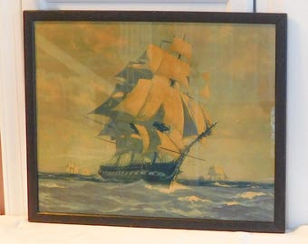 1927 Old Ironsides Gordon Grant Lithograph Frigate Constitution Signed Dated Framed