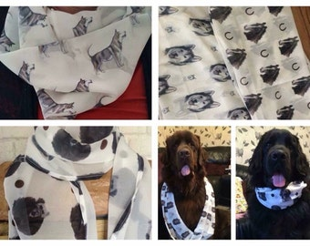 Pet portrait scarf, personalised, for pet owners , for dog owners, double dog design