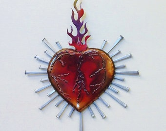 Sacred Heart, For her,Corazon de Amore, Recycled art, Unique Heart, Red Heart, Wedding gift, Junk Art, Heart Doctor, Cardio, Valentine, Pink