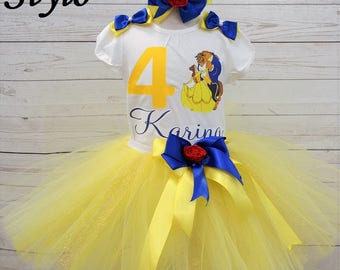 Beauty and the Beast birthday outfit, FREE SHIPPING, disney outfit, birthday girl, princess belle, yellow outfit, birthday set,