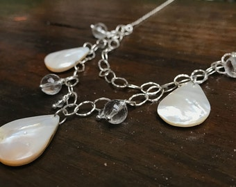 Mother Of Pearl, Silver & Quartz Crystal Necklace - One Of A Kind