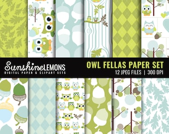 Owl Fellas - Green Baby Owls Digital Scrapbooking Paper Set - COMMERCIAL USE Read Terms Below