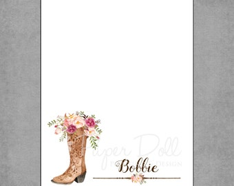 Western Cowgirl Boots Watercolor Notepad, Watercolor Flowers, Personalized Custom Notepads - Bridal Shower, Wedding, Teacher Gift - Bobbie