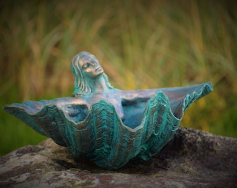 Silver, Pewter and Turquoise, Mermaid, Angel, Clam Shell Goddess, Altar Bowl Sculpture by Shapingpirit, Debra Bernier