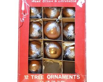 Vintage Silver Glittered Bronze Glass Ball Ornaments, 10 of 12 in Original Box