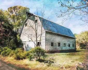 Old White Barn Metal Roof, Rustic Country Farm Living Decor Wall Art Architecture Landscape North Carolina Fine Art Photography Print