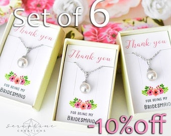 SET OF 6 Bridesmaid Necklace, Bridesmaid Jewelry Bridal Party Gift Bridal Shower Bridesmaid Gift Wedding Party Gift Bridesmaid Pendant W04