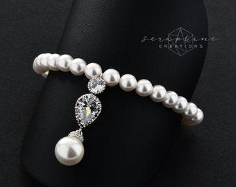 Pearl Bracelet Bridal Bracelet Teardrop Wedding Jewelry Swarovski Pearls Sparkly Rhinestone Crystal Bridesmaids Classic B34