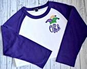 Mardi Gras Shirt-New Orleans-Mardi Gras-Girls Mardi Gras-Mardi Gras Outfit-Raglan Shirt-NOLA-Raglan -Monogram Raglan-Baseball Shirt