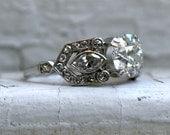 Stunning Vintage Art Deco Platinum Diamond Engagement Ring - 2.63ct.