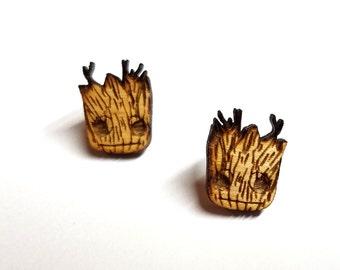 Baby Groot Earrings | Laser Cut Jewelry | Hypoallergenic Studs | Wood Earrings