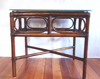 Vintage Bamboo Side Table, Rattan End Table, Boho Occasional Table, Cane Bentwood Wicker Table