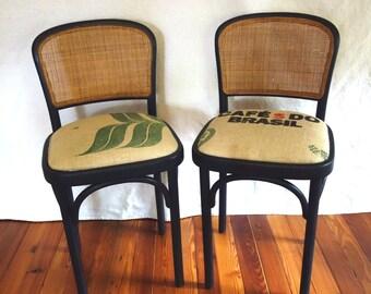 Pair Bentwood Bar Stools, Woven Rattan Backs, Coffee Bean Bag Seats, Vintage Thonet Prague Style Barstools