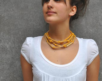 Modern fabric necklace / Yellow jersey necklace / Plastic and cotton necklace  / Fiber necklace / Fabric jewelry / Simple necklace / Aliquid