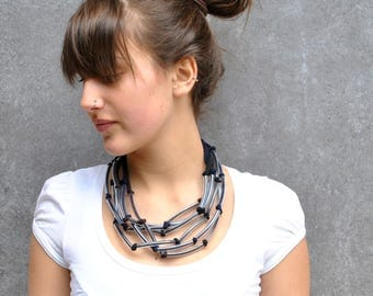 Statement wrap necklace / Modern fiber necklace and plastic tubes / Statement jewelry / modern jewelry / Unique fiber jewelry / Gift for her