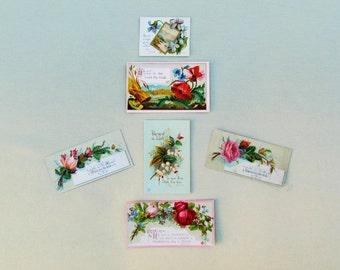 Antique small religious cards with floral designs, 6 pcs. of Victorian scrap with Bible verses and religious mottos, 1800's ephemera lot