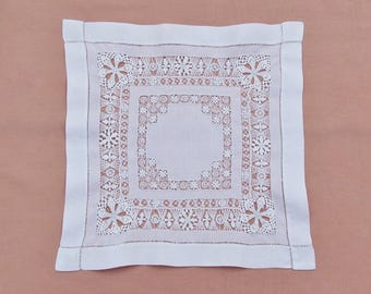Vintage drawnwork doily, large square linen doily, handmade doily with Tenerife lace