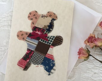 Blank Antique Quilt Teddy Bear Note Card. Teddy Bear using Antique Quilt Piece Stitched onto Blank Card Stock. One Card and Envelope.