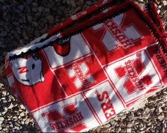 Nebraska Cornhuskers Crocheted  Fleece Blanket