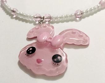 Pink 90s choker, bunny, rabbit, pastel goth, fairy kei