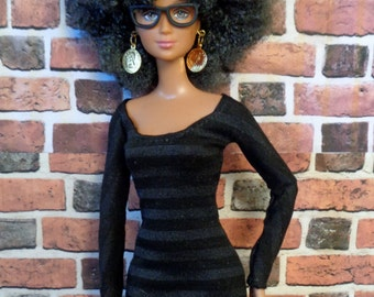Black Striped Long Sleeve Fitted T shirt Dress for Barbie, Petite Barbie or similar fashion doll