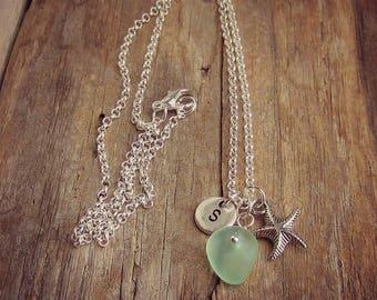 Sea Glass Necklace • Monogram Necklace • Starfish Necklace • Beach Glass Necklace • Personalized Necklace • Bridesmaid Necklace