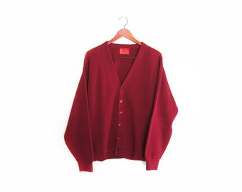vintage cardigan / grandpa cardigan / grunge cardigan / 1960s burgundy knit cardigan Large